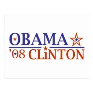 Boleto estupendo 2008 de Obama Clinton Tarjeta Postal