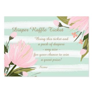 Boleto floral rosado de la rifa del pañal de la tarjetas de visita grandes