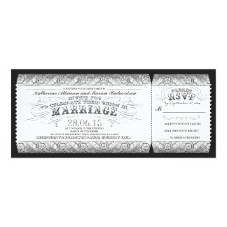 boleto gris blanco negro de la invitación del boda