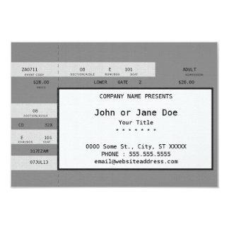 """boleto gris del concierto invitación 3.5"""" x 5"""""""