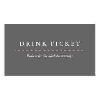 Boleto gris limpio básico de la bebida tarjetas de visita