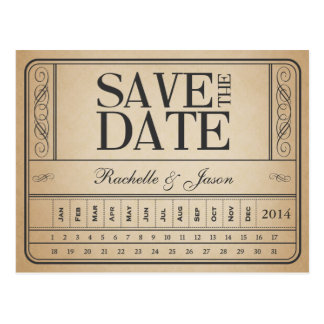 Boleto II del vintage -- Ahorre la fecha perforan  Tarjeta Postal