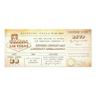 """boleto-invitación LAS VEGAS del boda del documento Invitación 4"""" X 9.25"""""""