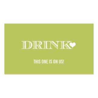 Boleto lindo de la bebida del boda del verde del tarjetas de visita