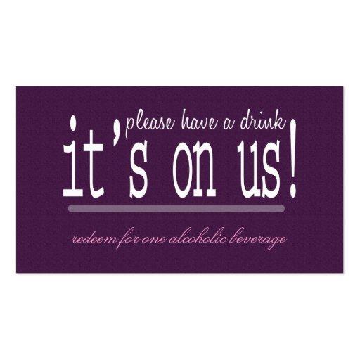 Boleto moderno de la bebida del boda del amor y de tarjeta personal