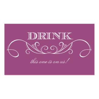 Boleto moderno de la bebida del boda del remolino tarjetas de visita