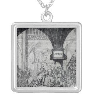 Boleto para la coronación de George III Colgante Cuadrado