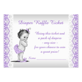 Boleto púrpura de la rifa del pañal de la niña tarjetas de visita grandes