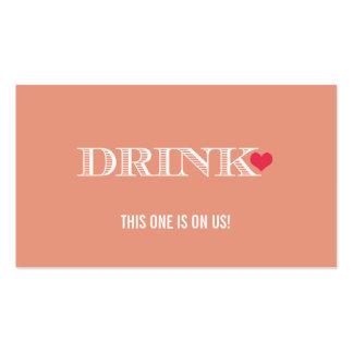 Boleto rojo de la bebida del boda del melocotón li tarjetas personales