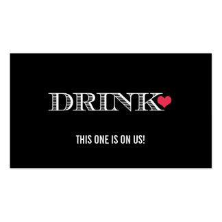Boleto rojo de la bebida del boda del negro lindo  plantillas de tarjetas personales