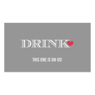 Boleto rojo gris de la bebida del boda del corazón plantillas de tarjetas de visita