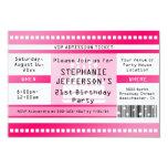 Boleto rosado de la admisión de la fiesta de invitación 8,9 x 12,7 cm
