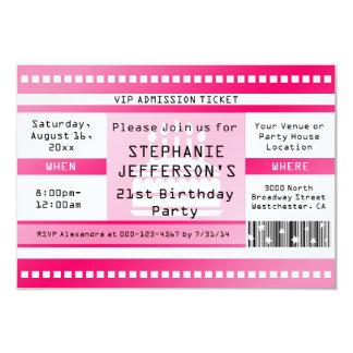 Boleto rosado de la admisión de la fiesta de comunicados personales