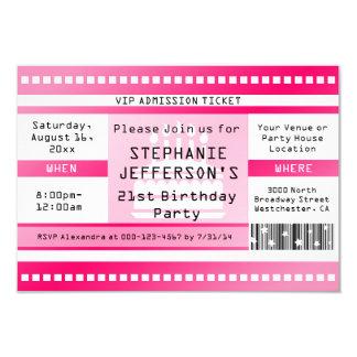 """Boleto rosado de la admisión de la fiesta de invitación 3.5"""" x 5"""""""