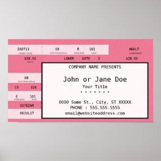 boleto rosado del concierto póster