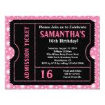 Boleto rosado y negro, edad del dulce 16 o invitaciones personalizada