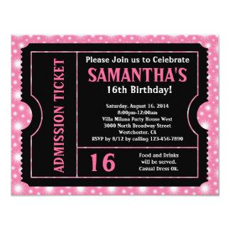 Boleto rosado y negro, edad del dulce 16 o invitación 10,8 x 13,9 cm