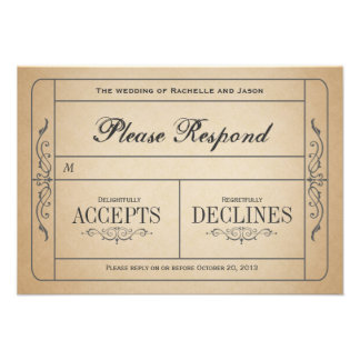 Boleto RSVP del boda del vintage Invitaciones Personalizada