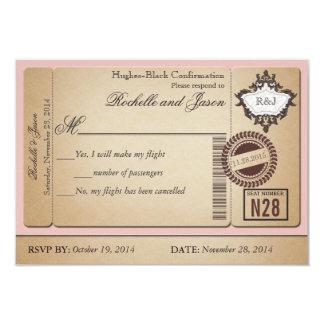Boleto RSVP del pasaporte del vintage Invitación 8,9 X 12,7 Cm