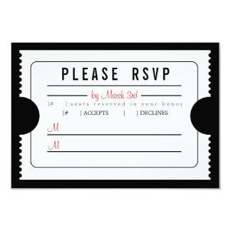 Boleto RSVP del vintage en negro Invitación 8,9 X 12,7 Cm