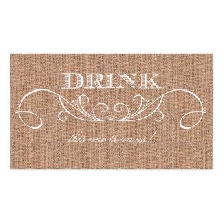Boleto rústico de la bebida del boda de la tarjetas de visita
