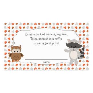 Boletos animales de la rifa del pañal del arbolado tarjetas de visita
