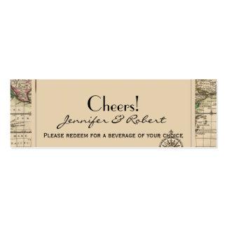 Boletos antiguos de la bebida del boda del mapa de tarjetas de visita mini