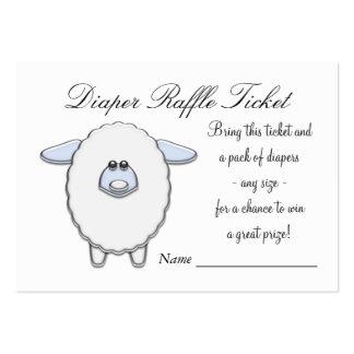 Boletos azules de la rifa del pañal de las ovejas tarjetas de visita grandes