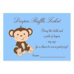Boletos azules de la rifa del pañal del mono tarjeta de negocio