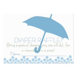 Boletos azules de la rifa del pañal del paraguas tarjetas de visita grandes