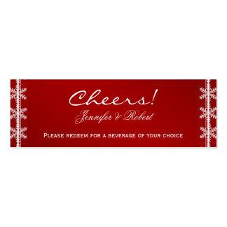 Boletos blancos rojos de la bebida del boda del in plantilla de tarjeta personal