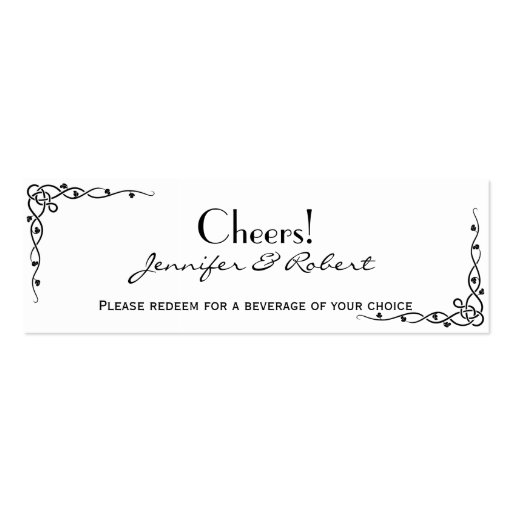 Boletos célticos negros de la bebida del boda de tarjetas de visita mini