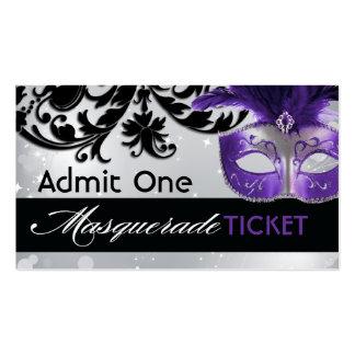 Boletos de la admisión de la mascarada tarjetas de visita