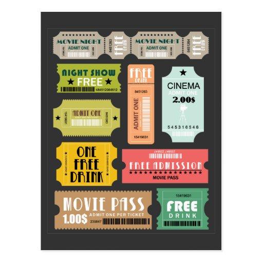 Boletos de la admisión de la película tarjeta postal