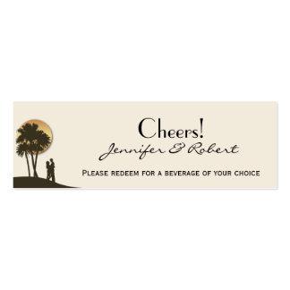Boletos de la bebida del boda del paraíso de la tarjetas de visita mini