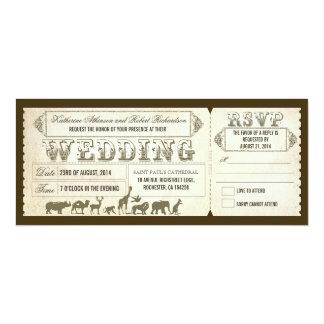 Boletos de la invitación del boda del parque