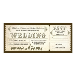Boletos de la invitación del boda del parque zooló