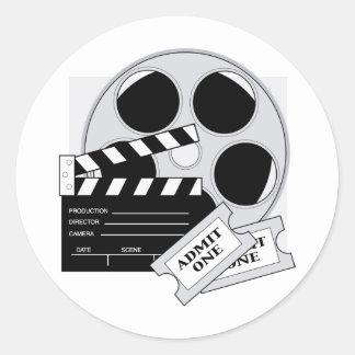 Boletos de la película pegatina redonda