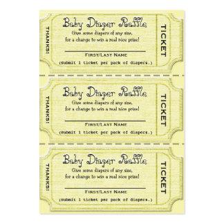 Boletos de la rifa del pañal del bebé tarjetas de visita grandes