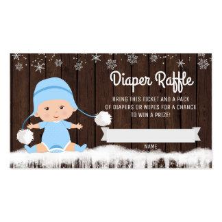 Boletos de la rifa del pañal del copo de nieve de tarjetas de visita