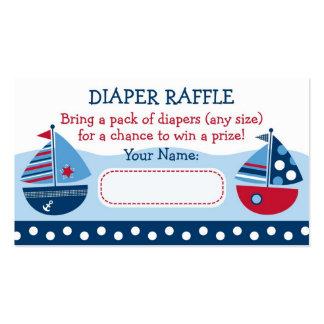Boletos de la rifa del pañal del velero tarjetas de visita