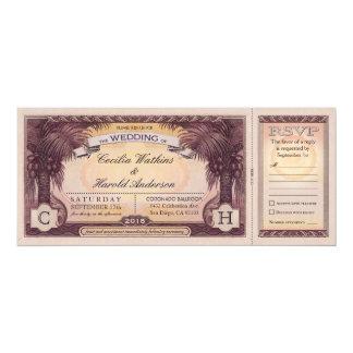 """Boletos del boda de playa del vintage con las invitación 4"""" x 9.25"""""""