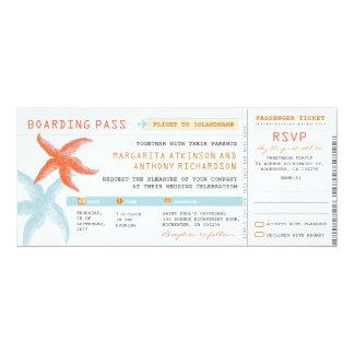 """boletos del boda del documento de embarque con invitación 4"""" x 9.25"""""""
