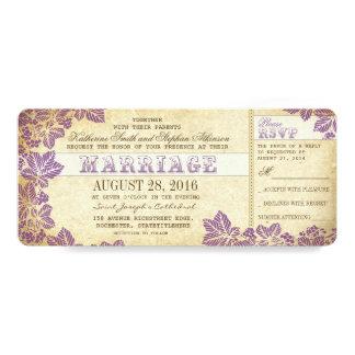 """boletos del boda del vintage con flourishes del invitación 4"""" x 9.25"""""""