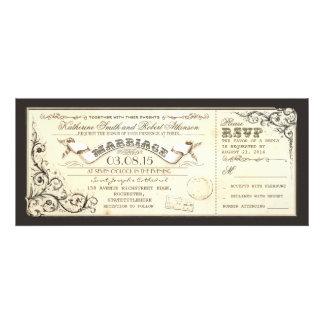 boletos del boda del vintage con flourishes elegan anuncio personalizado