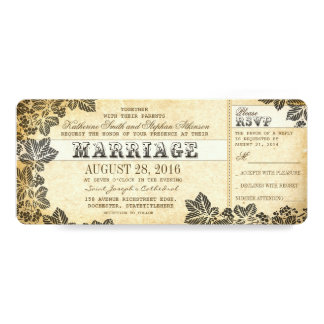 """boletos del boda del vintage con flourishes invitación 4"""" x 9.25"""""""