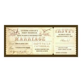 """Boletos del boda del vintage con las astas de los invitación 4"""" x 9.25"""""""