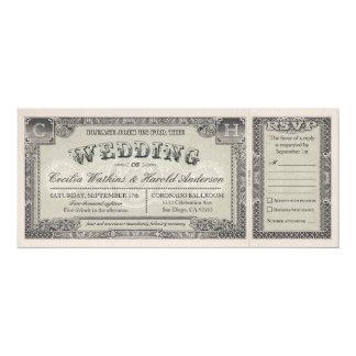"""Boletos del boda del vintage con las tarjetas v.2 invitación 4"""" x 9.25"""""""