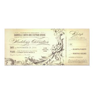 """boletos del boda del vintage - flourishes invitación 4"""" x 9.25"""""""