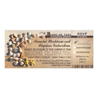 """boletos del documento de embarque del boda de invitación 4"""" x 9.25"""""""